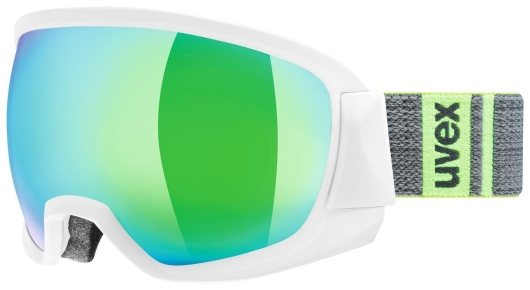 Uvex contest FM Skibrille (white-mat/green-clear)